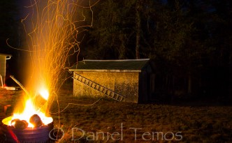 Night Photos - Crackling Camp Fire
